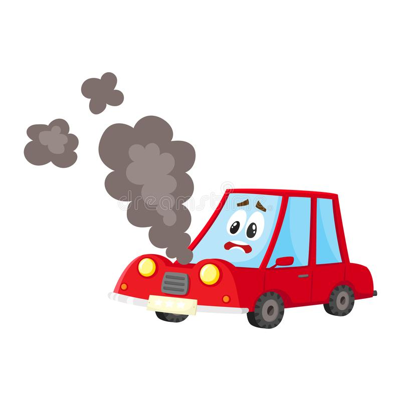 Vector broken car, cracked glass, smoke from hood. Vector flat cartoon broken red car character with eyes, emotions and face with black smoke coming from hood royalty free illustration