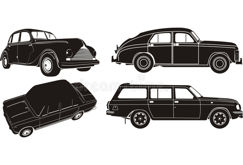 Vector car silhouette set. Vintage BMW and GAZ-M20, LADA and Volga. Available EPS-8 format royalty free illustration