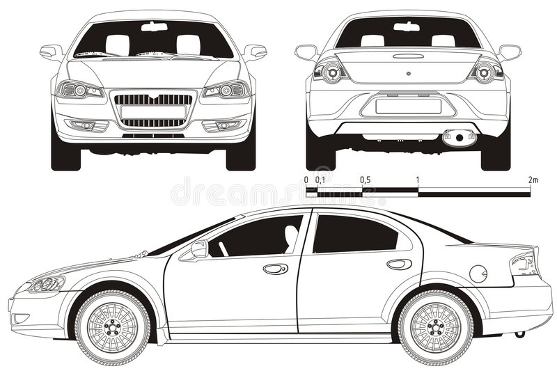 Vector car technical draft. Vector technical draft modern car Volga-Siber. Available EPS-8 separated by layers royalty free illustration