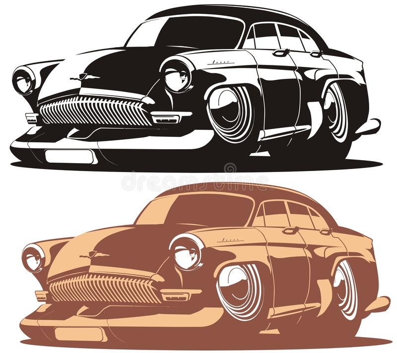 Vector cartoon retro car. Vector illustration vintage cartoon car `Volga` Gaz-21 isolated on white background. Available EPS-8 vector format royalty free illustration
