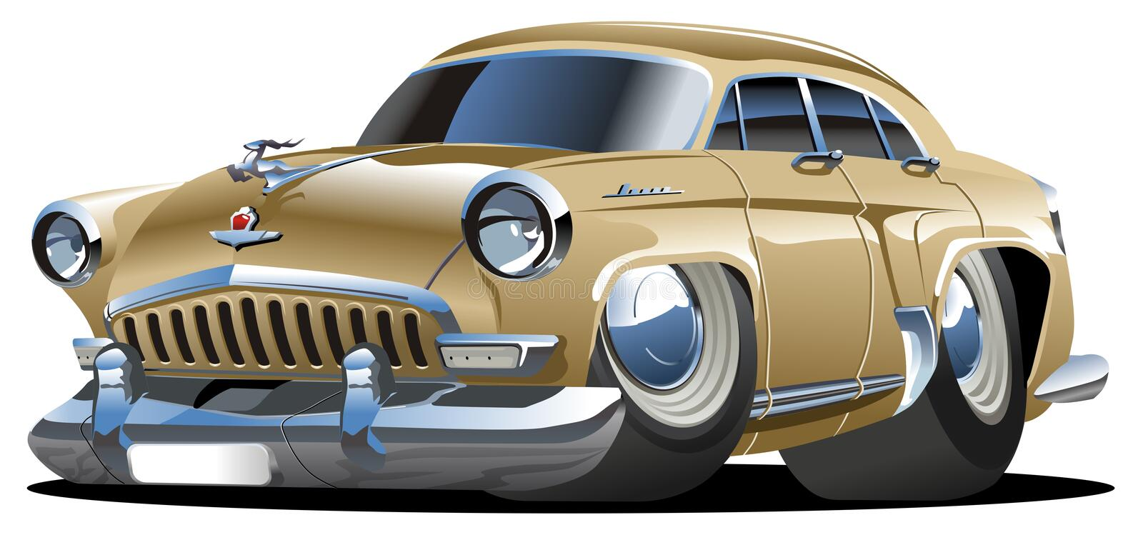 Vector cartoon retro car. Vector illustration vintage soviet cartoon car isolated on white background. Available CDR-9 vector format stock illustration