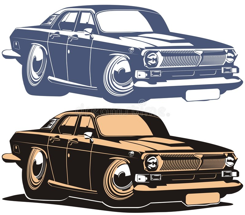 Vector cartoon retro muscle car. Cartoon car isolated on white background. Available EPS-8 vector format separated by layers for easy edit stock illustration