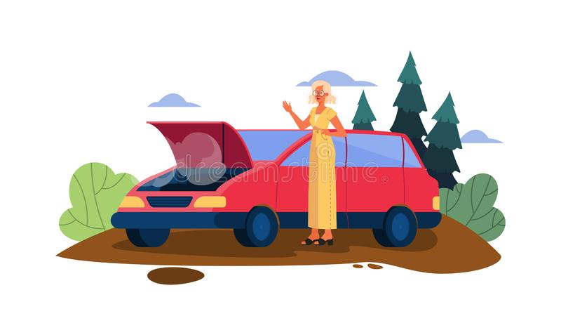 Vector illustration with broken car on a road. Vector illustration with broken down car on a road. Car breaking down accidentally on the road. Sad and scared royalty free illustration