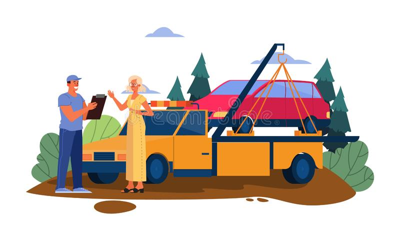 Vector illustration of broken down car on a road. Female get. Help to transporate her damaged car to mechanic service for repair. Woman talk to tow truck driver royalty free illustration