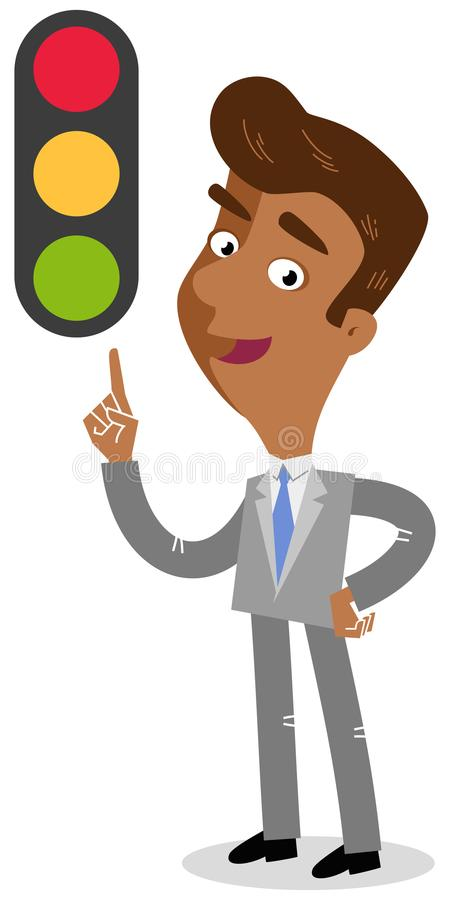 Vector illustration of a friendly looking asian cartoon businessman pointing at traffic light stock illustration
