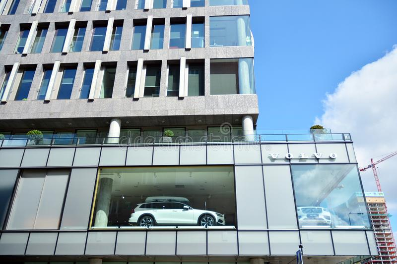 Volvo Car Warszawa. A new Volvo concept in the center of Warsaw. It is the world`s first car showroom combined with a cafe and a c. Warsaw, Poland. 18 July 2019 stock images