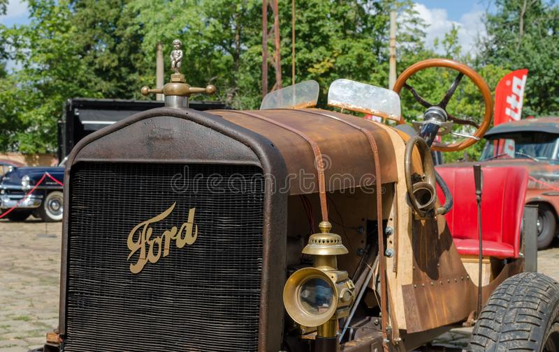 WROCLAW, POLAND - August 11, 2019: USA cars show - Old Ford car, model T.  Close up.  royalty free stock photos